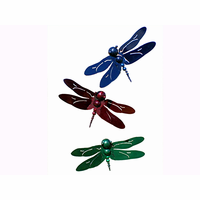 Colorful Dragonfly Metal Wall Hanging Set of 3