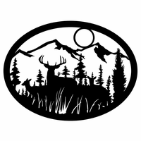 Deer Family Forest Silhouette Wall Art