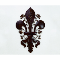 Dramatic Fleur-de-Lis Handcrafted Metal Wall Sculpture