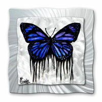 Fleeting Blue Butterfly Metal Art