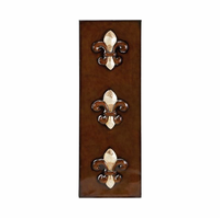 Fleur-de-Lis Faux Wood Panel Metal Wall Hanging