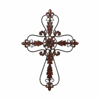 Fleur-de-Lis Wall Cross Metal Hanging