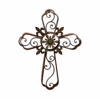 Flower of the Lily Wall Cross Metal Sculpture
