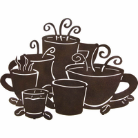 Morning Coffee Collage Metal Wall Hanging