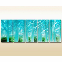 Mystic Forest in the Morning Metal Wall Hanging Set of 5