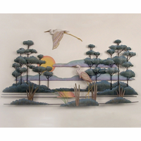 Pair of Cranes in the Marshlands Metal Wall Art