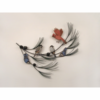 Pine Branch Bird Refuge Metal Wall Hanging