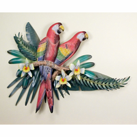 Red Macaws in Paradise Metal Wall Hanging