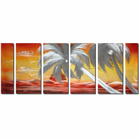 Red Sun Setting Tropical Wall Art Set of 6