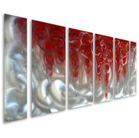 Ruby Adornments Abstract Handpainted Metal Wall Artwork Set of 6