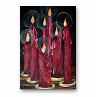Scarlet Glow Candle Wall Art