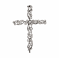 Scrolled Metal Wall Cross Hanging