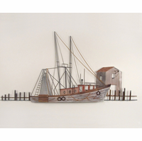 Sea-going Ship at Port Metal Wall Art