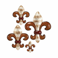 Set of Four Marble-Look Fleur-de-Lis