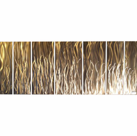 Silver Grass Abstract Aluminum Wall Art Set of 7