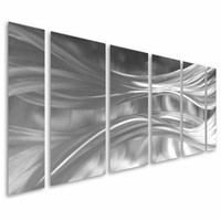 Svelteness of Silk Abstract Handcrafted Aluminum Wall Art Set of 6