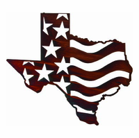 Texas in Americana Metal Wall Art Hanging Sculpture