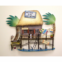 Tiki Hut Tropical Resort Metal Wall Sculpture