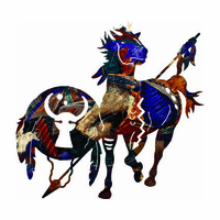 Tribal Warrior Horse Abstract Metal Wall Sculpture