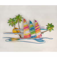Trio of Sailboats Metal Wall Hanging