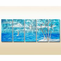Tropical Midnight Metal Wall Hanging Set of 5