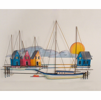 Village by the Dock Metal Wall Art
