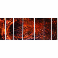 Volcanic Fury in Abstract Seven-Panel Metal Wall Hanging