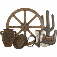 Western Wagon Wheel Metal Wall Sculpture
