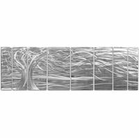 Willowy Branches Eight-Panel Metal Wall Hanging