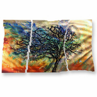 Windswept Tree Metal Wall Hanging