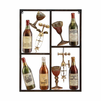 Wine and Corkscrew Metal Wall Hanging
