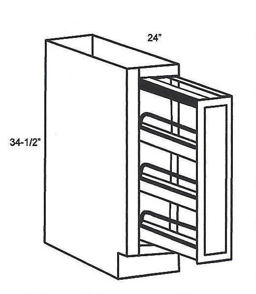 BFP09-Specialty Cabinets:Base Filler Spice Pull-Out:Mocha Shaker ...
