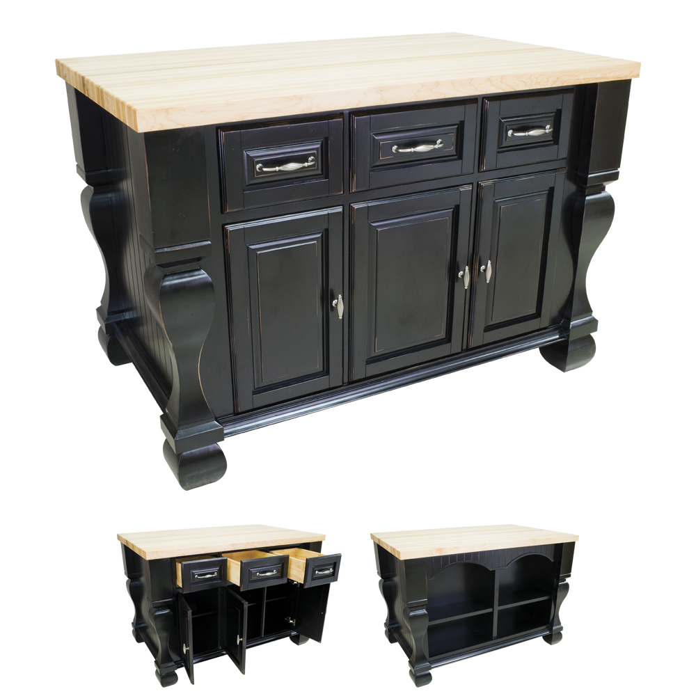 Distressed Black Kitchen Island-ISL01-DBK