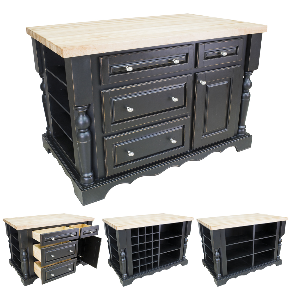 Distressed Black Kitchen Island with Drawers-ISL02-DBK