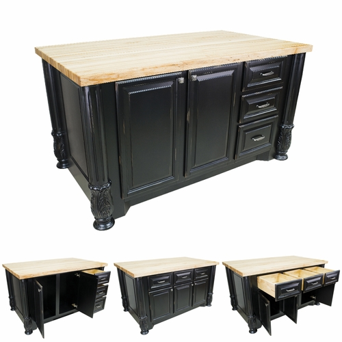Distressed Black Kitchen Island with Smaller Drawers-ISL05-DBK