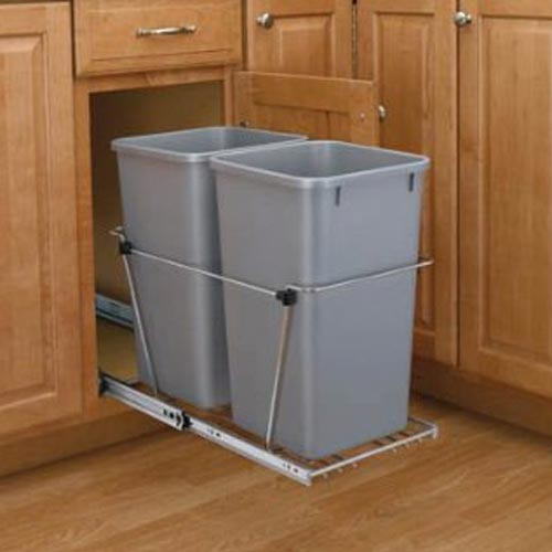 Double 27 Quart Pull-Out Waste Container with Full-Extension Slides
