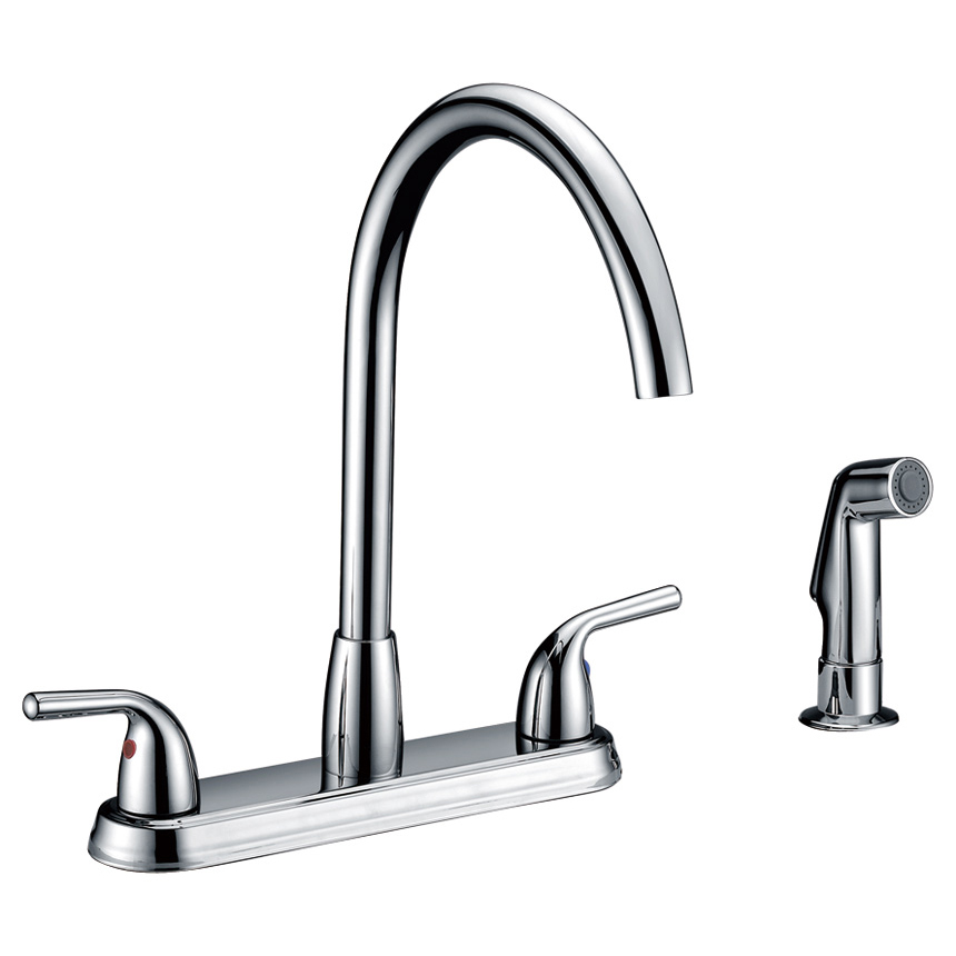 Double-Handle-Kitchen-Faucet-w/-Side-Spray