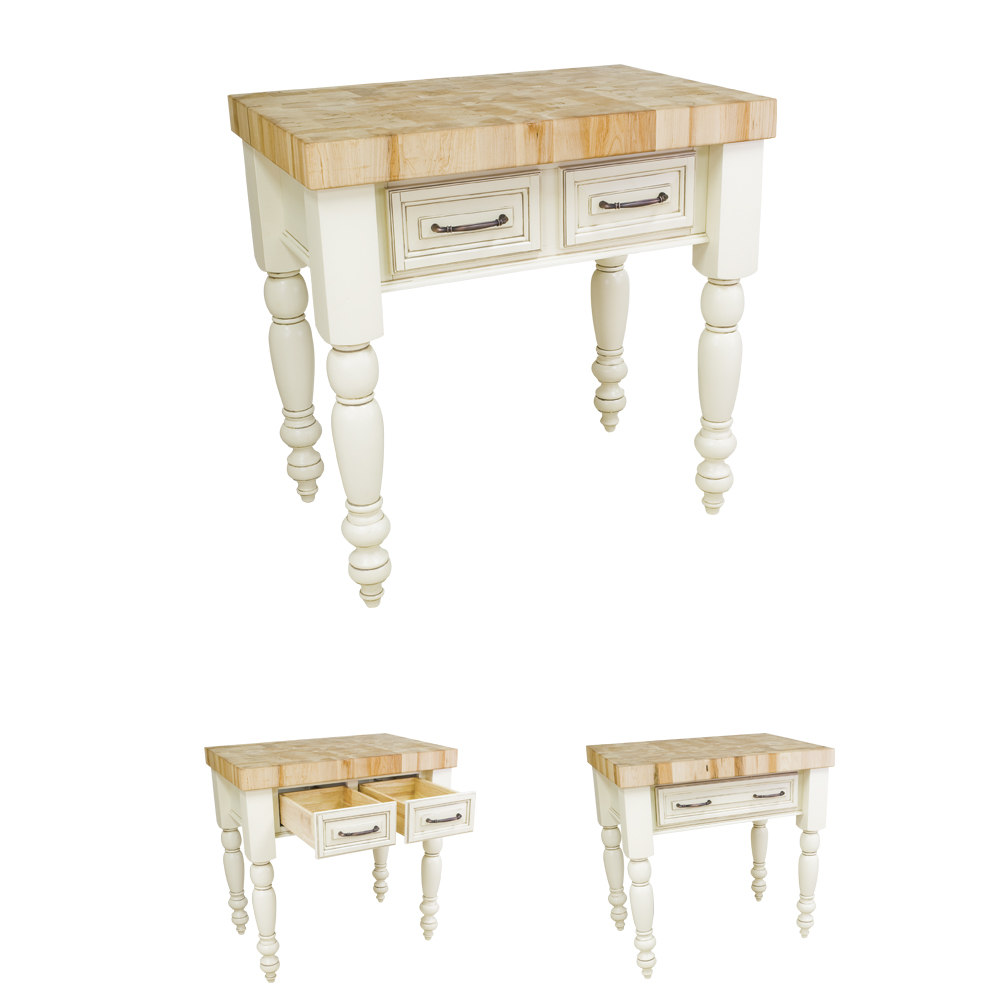 Small Chunky Antique White Kitchen Island-ISL04-AWH
