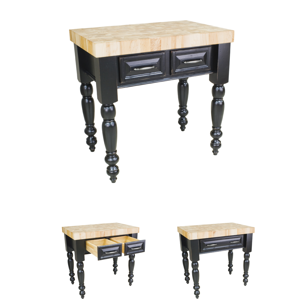 Small Chunky Distressed Black Kitchen Island-ISL04-DBK
