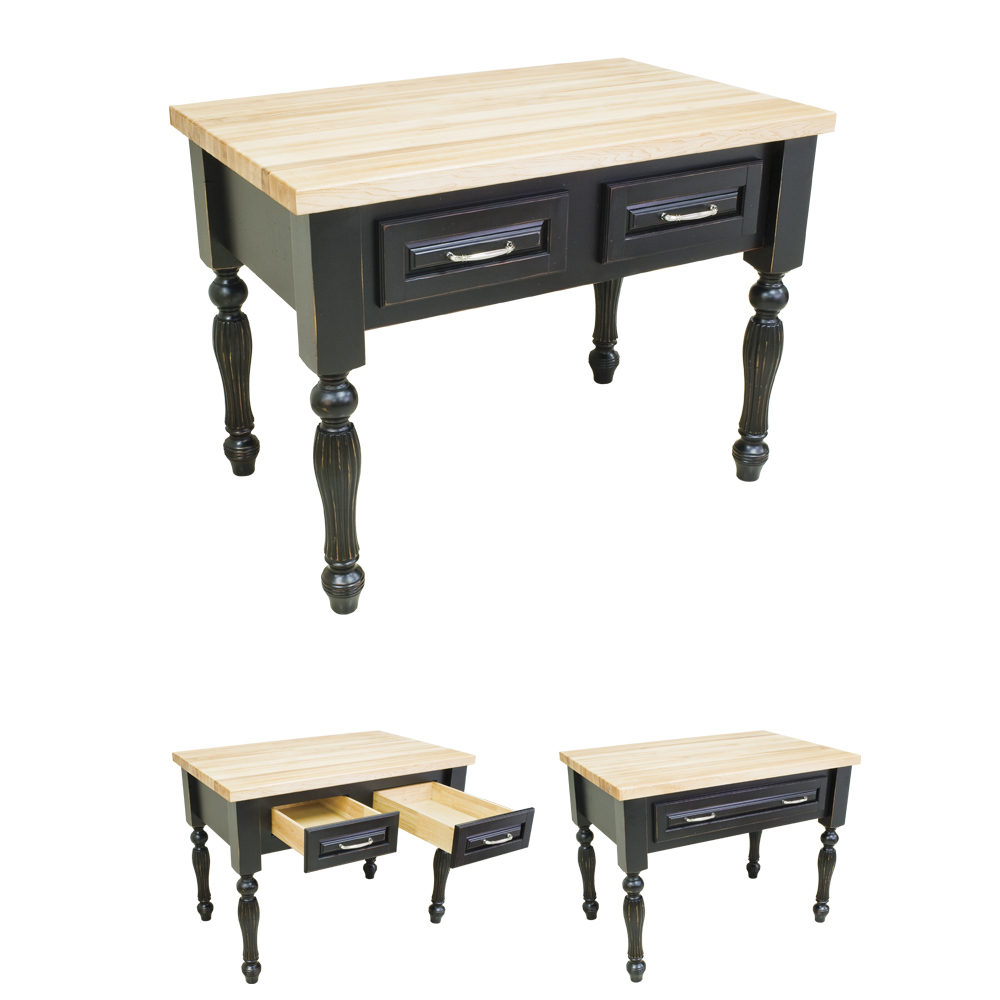 Small Distressed Black Kitchen Island-ISL03-DBK