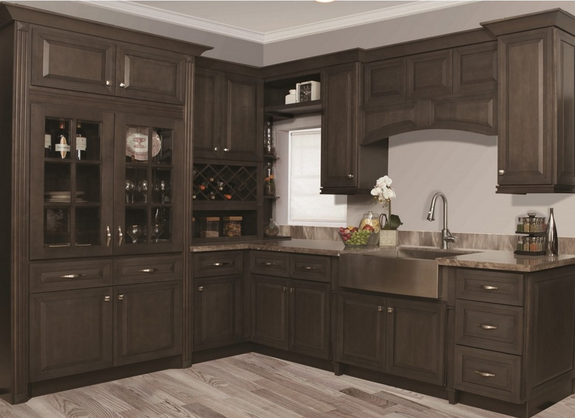 In Stock Rta Ready To Assemble Grey Stain Kitchen Cabinets