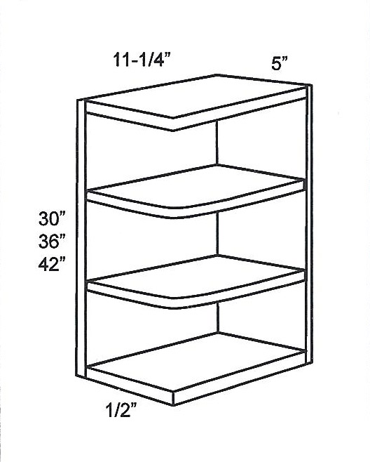 WES530-Specialty Cabinets:Wall End Open Shelf:Country Oak