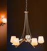 Hubbardton Forge Chandelier: Ribbon with five arms and glass options.
