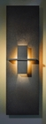 Hubbardton Forge Direct wire wall sconce with glass options: Aperture vertical.