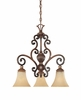 Montreaux 3 Light Down Chandelier  From Designers Fountain - 81583-BWG