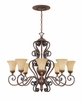 Montreaux 8 Light oval chandelier, with 10' chain  From Designers Fountain - 81588-BWG