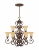 Montreaux 9 Light Chandelier , with 10'chain From Designers Fountain - 81589-BWG