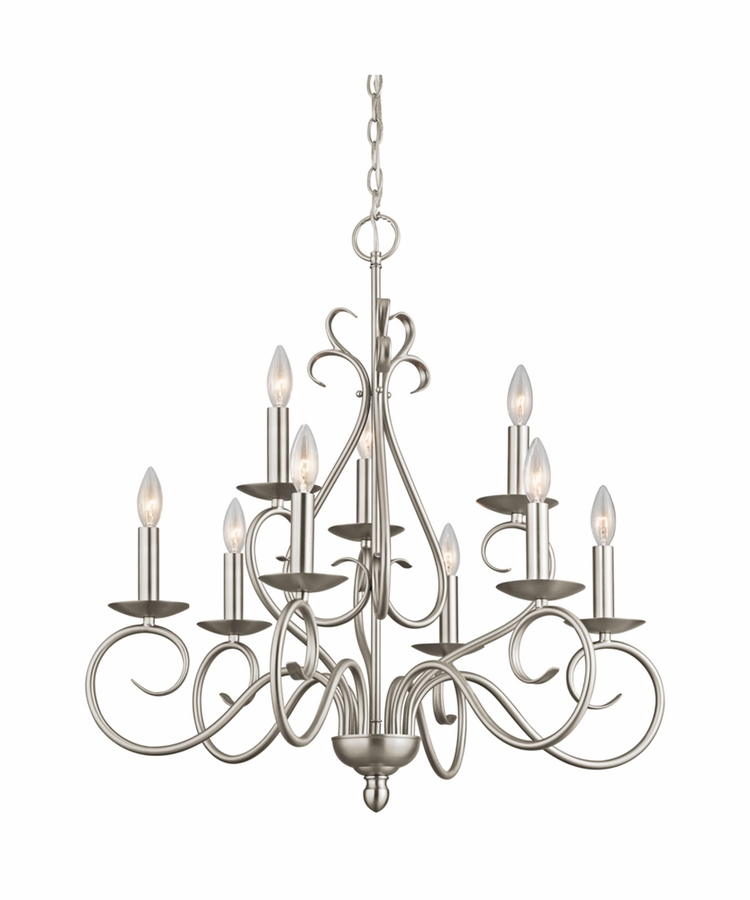 Norwich Chandelier 9 Light shown in Brushed Nickel by Kichler
