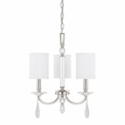 The Alisa Collection 3 Light Chandelier With Crystals Included shown in Polished Nickel by Capital Lighting
