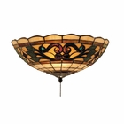 Landmark Lighting (990-E) Tiffany Buckingham 2 Light Fan Kit/Ceiling Mount in Vintage Antique Finish